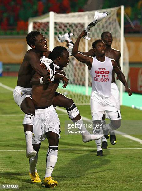 Dominic Adiyiah and Daniel Opare of Ghana celebrate after victory over Korea Republic in the FIFA U20 World Cup Quarter Final match between Korea...