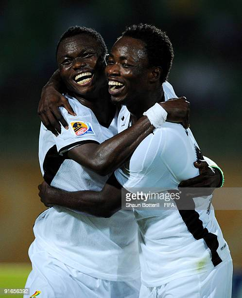 Dominic Adiyiah of Ghana celebrates with teammate Ransford Osei after scoring during the FIFA U20 World Cup Quarter Final match between Korea...