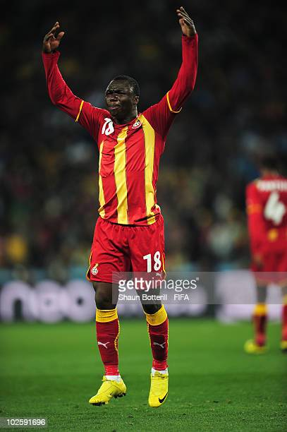 Dominic Adiyiah of Ghana reacts after Luis Suarez of Uruguay handles the ball on the line during the 2010 FIFA World Cup South Africa Quarter Final...