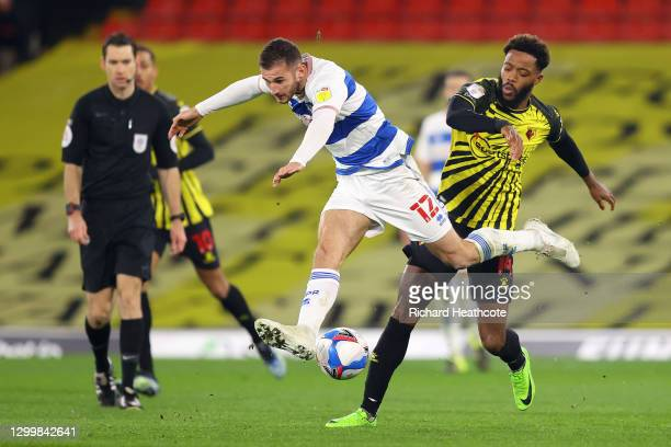 Dominic Ball of Queens Park Rangers collides with Nathaniel Chalobah of Watford FC during the Sky Bet Championship match between Watford and Queens...
