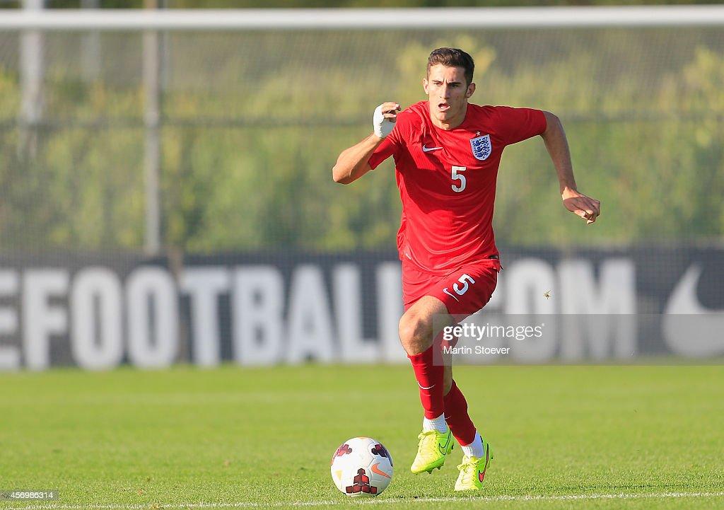 Dominic Ball of U20 England plays the ball during the match between U20 Germany v U20 England at Sportpark Skoatterwald on October 9, 2014 in Heerenveen, Netherlands.