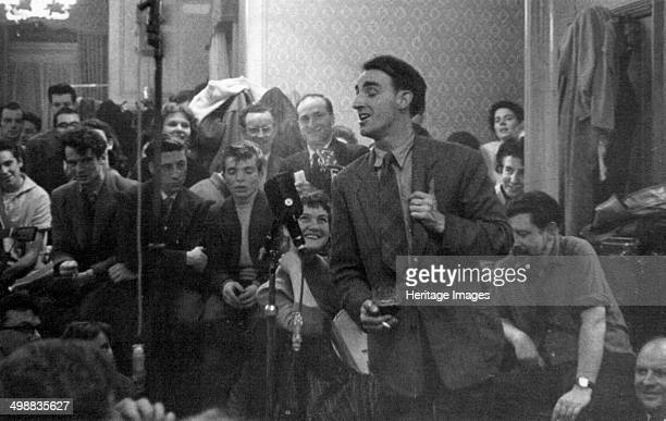 Dominic Behan singing at a folk session Enterprise Public House Long Acre London c1959 Folk club session during the folk revival of the late 1950s...