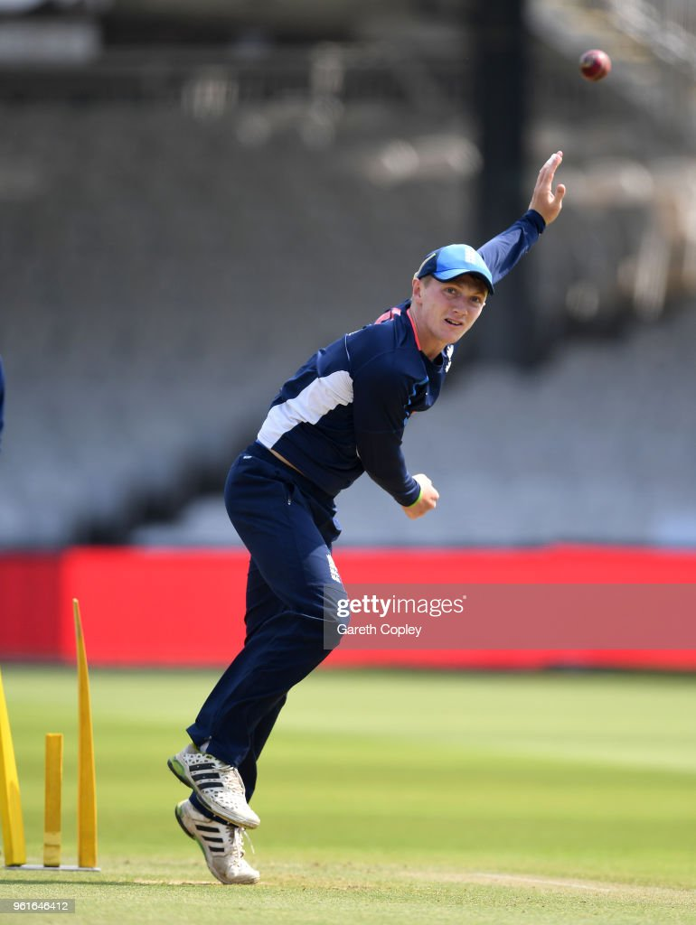 Dominic Bess of England bowls during a nets session at Lord's Cricket Ground on May 23, 2018 in London, England.