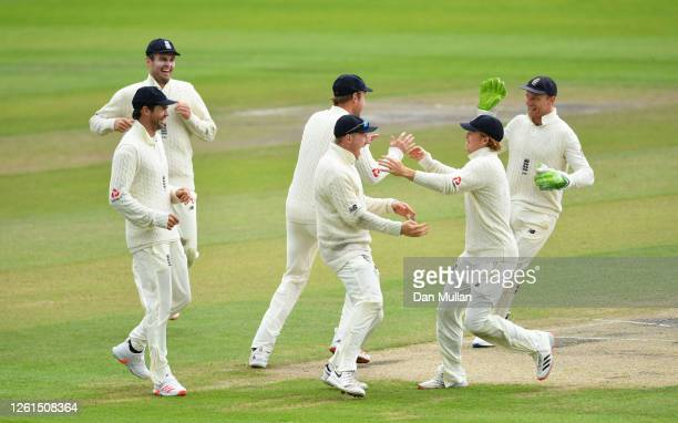 Dominic Bess of England celebrates after running out Roston Chase of West Indies during Day Five of the Ruth Strauss Foundation Test the Third Test...