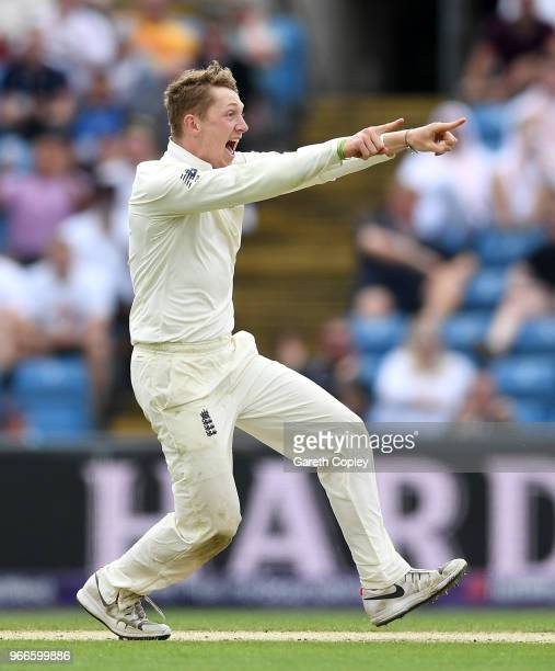 Dominic Bess of England celebrates dismissing Imam-ul-Haq of Pakistan during day three of the 2nd NatWest Test match between England and Pakistan at...