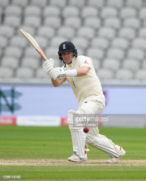 Dominic Bess of England plays a shot during Day Two of the Ruth Strauss Foundation Test the Third Test in the #RaiseTheBat Series match between...