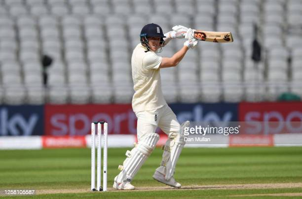 Dominic Bess of England plays a shot for four during Day Two of the Ruth Strauss Foundation Test the Third Test in the #RaiseTheBat Series match...