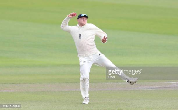 Dominic Bess of England throws the ball as he runs out Roston Chase of West Indies during Day Five of the Ruth Strauss Foundation Test the Third Test...