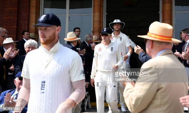 Dominic Bess of England walks from the pavilion ahead of day three of the 1st NatWest Test match between England and Pakistan at Lord's Cricket...