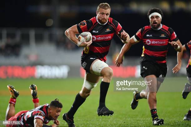 Dominic Bird of Canterbury charges forward during the round five Mitre 10 Cup match between Canterbury and Counties Manukau on September 13 2017 in...