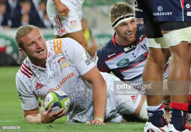 Dominic Bird of the Chiefs scores a try during the round four Super Rugby match between the Rebels and the Chiefs at AAMI Park on March 17 2017 in...