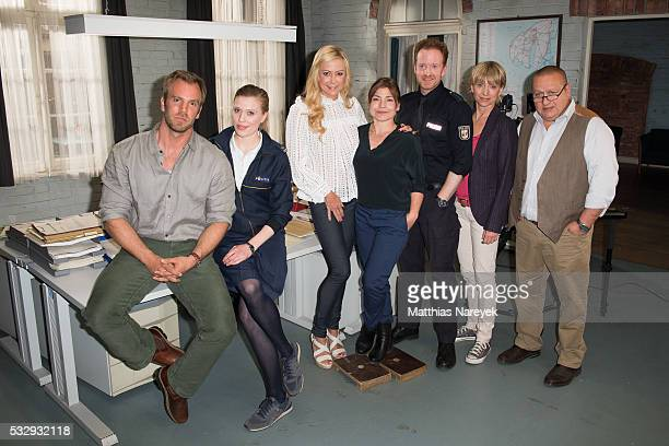 Dominic Boer Isabel Berghout Jenny Elvers Claudia Schmutzler Mathias Junge Silke Matthias and Udo Kroschwald attend the SOKO Wismar on set photocall...