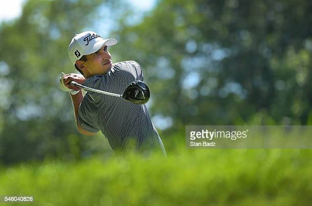 Dominic Bozzelli hits a drive on the 18th hole during the final round of the Webcom Tour LECOM Health Challenge at Peek'n Peak Rst Upper Course on...
