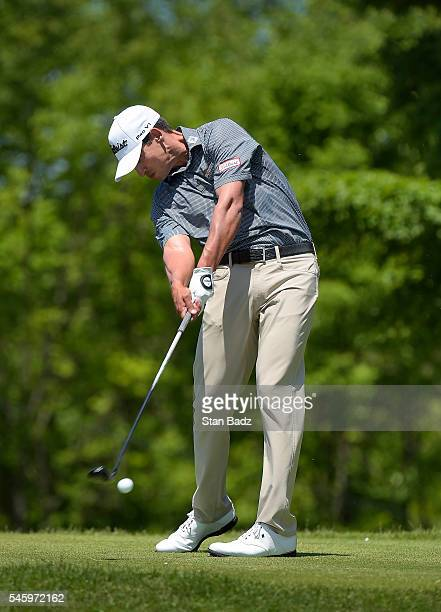 Dominic Bozzelli hits a drive on the seventh hole during the final round of the Webcom Tour LECOM Health Challenge at Peek'n Peak Rst Upper Course on...