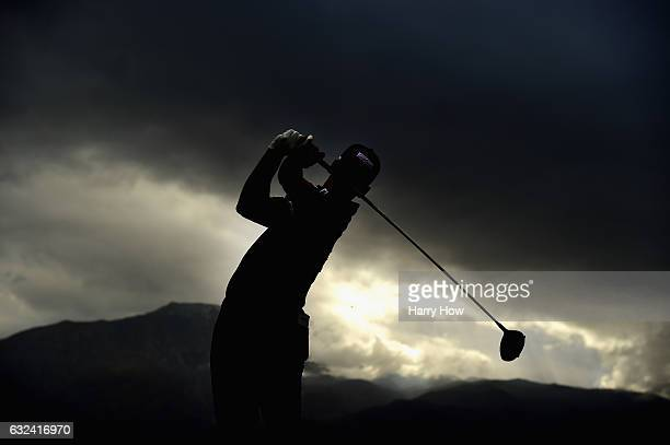 Dominic Bozzelli plays his shot from the 16th tee during the final round of the CareerBuilder Challenge in partnership with The Clinton Foundation at...