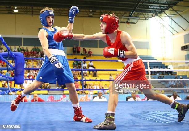 Dominic Bradley of Northern Ireland competes against Rhys Tomas Edwards of Wales in the Boy's 60 kg Preliminary Bout Boxing on day 2 of the 2017...