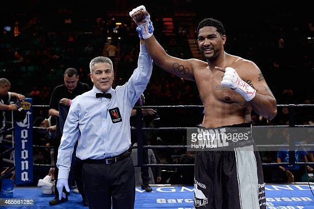 Dominic Breazeale celebrates after defeating Victor Bisbal during a Premier Boxing Champions bout in the MGM Grand Garden Arena on March 7 2015 in...
