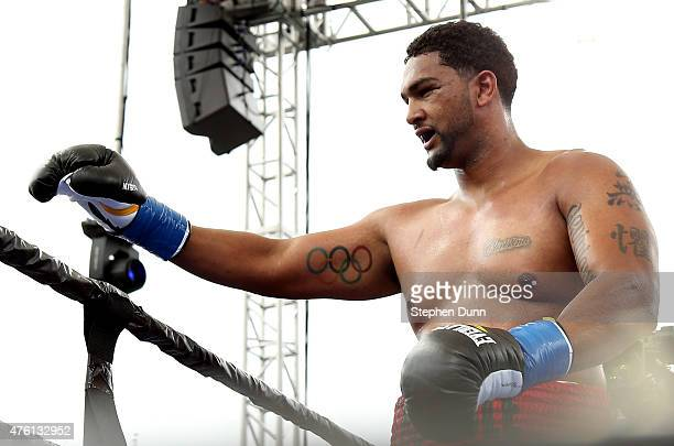 Dominic Breazeale celebrates after knocking out Yasmany Consuegra in their heavyweight bout at StubHub Center on June 6 2015 in Carson California