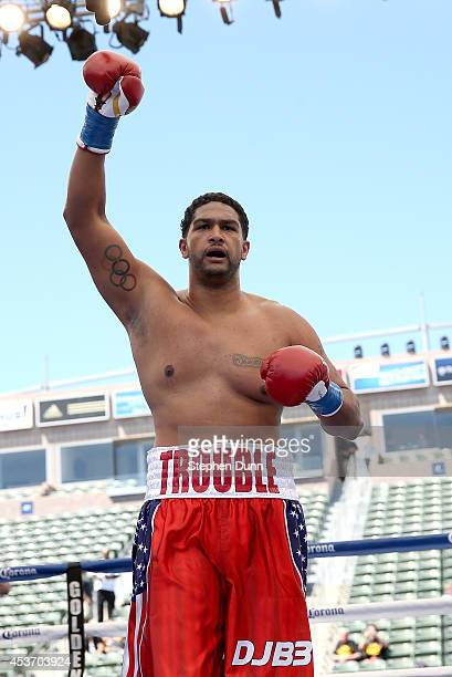 Dominic Breazeale celebrates after stopping Billy Zumbrun with a TKO in the second round of a heavywieght fight at StubHub Center on August 16 2014...