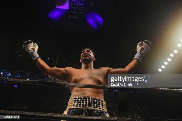 Dominic Breazeale celebrates his victory over Izu Uogonoh in a heavyweight bout at Legacy Arena at the BJCC on February 25 2017 in Birmingham Alabama