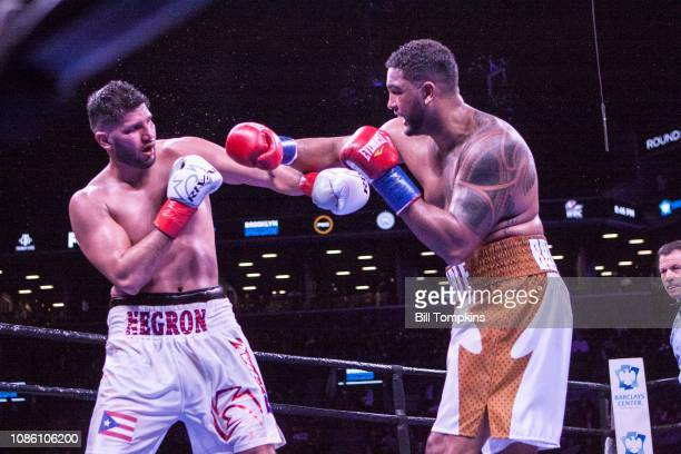 Dominic Breazeale defeats Carlos Negron by Knockout in the 9th round in their Heavyweight fight at Barclays Center on December 22 2018 in New York...