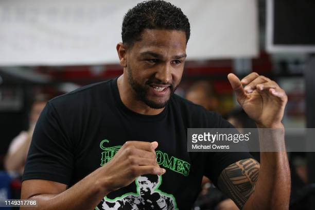 Dominic Breazeale during a media workout prior to his WBC heavyweight title fight against Deontay Wilder at Gleason's Gym on May 15 2019 in New York...