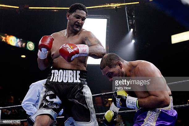 Dominic Breazeale fights Victor Bisbal during a Premier Boxing Champions bout in the MGM Grand Garden Arena on March 7 2015 in Las Vegas Nevada