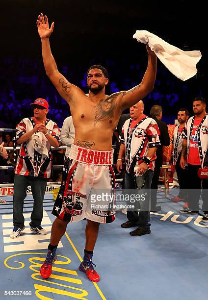 Dominic Breazeale of The USA gestures to the crowd following his IBF World Heavyweight Championship bout against Anthony Joshua of Great Britain at...