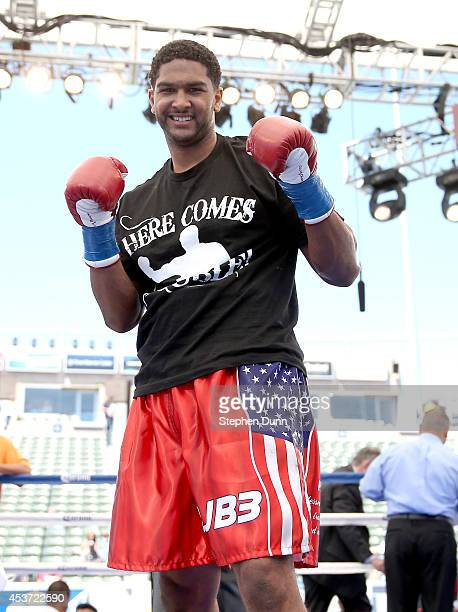 Dominic Breazeale poses after defeating Billy Zumbrun in a heavywieght fight at StubHub Center on August 16 2014 in Los Angeles California