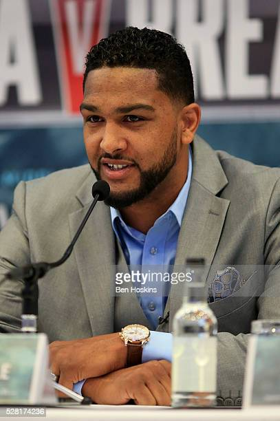 Dominic Breazeale speaks during the Anthony Joshua and Dominic Breazeale Press Conference on May 4 2016 in London England