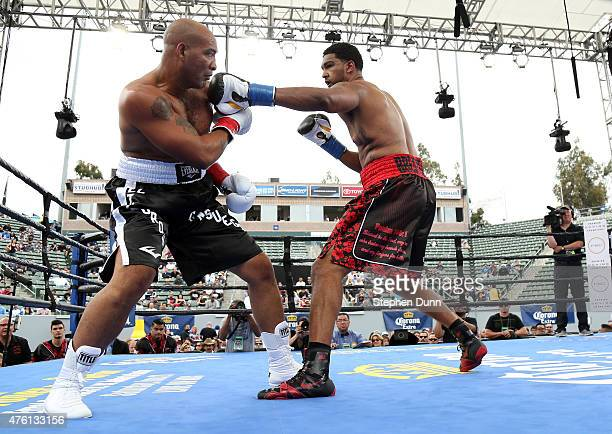 Dominic Breazeale throws a punch at Yasmany Consuegra in their heavyweight bout at StubHub Center on June 6 2015 in Carson California Breazeale won...