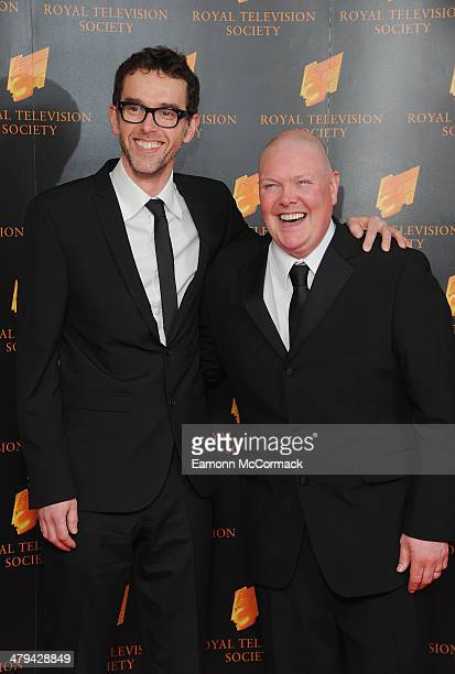 Dominic Brunt and Mark Charnock attends the RTS programme awards at Grosvenor House on March 18 2014 in London England