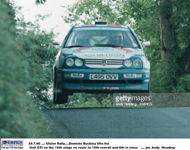 Dominic Buckley lifts his Golf GTI on the 15th stage