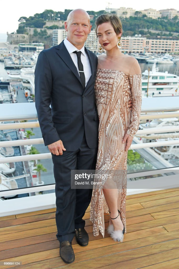 Dominic Burns (L) and Camilla Rutherford attend a charity gala evening and performance of the play 'A Life-Long Pas' in honour of Rudolf Nureyev and Dame Margot Fonteyn, held by Club Eclectique & It's founders Anna Nasbina & Yulia Polvida, at The Yacht Club De Monaco on June 16, 2017 in Monaco, Monaco.
