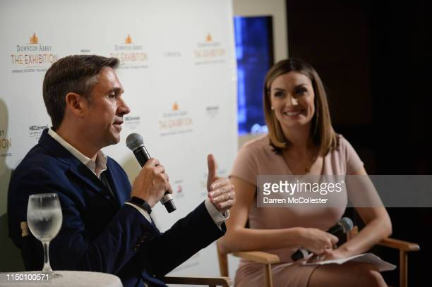 Dominic Burns and Jackie Bruno speak at the opening of the Downton Abbey exhibition June 14 2019 in Boston Massachusetts