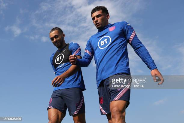 Dominic Calvert Lewin of England and teammate Ben Godfrey look on during a England Training Session as part of the England Pre-Euro 2020 Training...