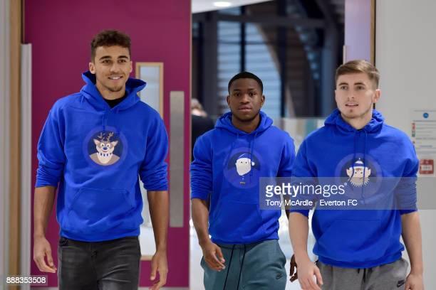 Dominic CalvertLewin Ademola Lookman and Jonjoe Kenny of Everton visit Alder Hey Childrens Hospital on December 5 2017 in Liverpool England