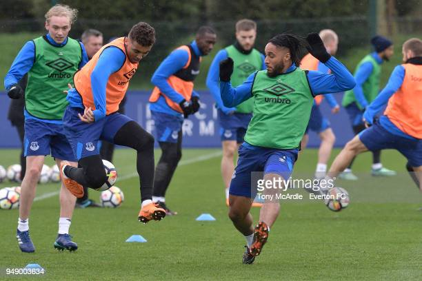 Dominic CalvertLewin and Ashley Williams during the Everton FC training session at USM Finch Farm on April 17 2018 in Halewood England