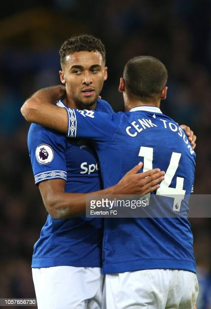Dominic CalvertLewin and Cenk Tosun of Everton celebrate during the Premier League match between Everton FC and Crystal Palace at Goodison Park on...