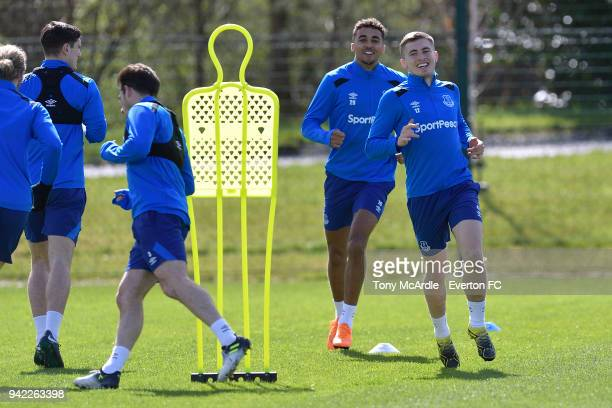 Dominic CalvertLewin and Jonjoe Kenny during the Everton FC training session at USM Finch Farm on April 5 2018 in Halewood England