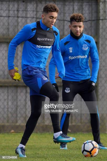 Dominic CalvertLewin and Mason Holgate during the Everton training session at USM Finch Farm on January 4 2018 in Halewood England