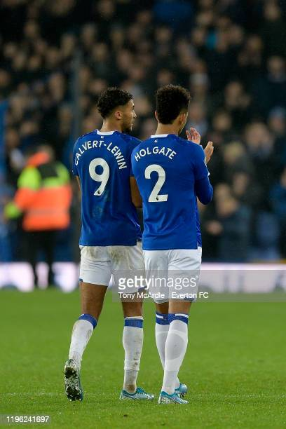 Dominic Calvert-Lewin and Mason Holgate of Everton applaud the fans after the Premier League match between Everton and Burnley at Goodison Park on...