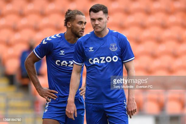 Dominic Calvert-Lewin and Michael Keane of Everton during the pre-season friendly match between Blackpool and Everton at Bloomfield Road on August 22...