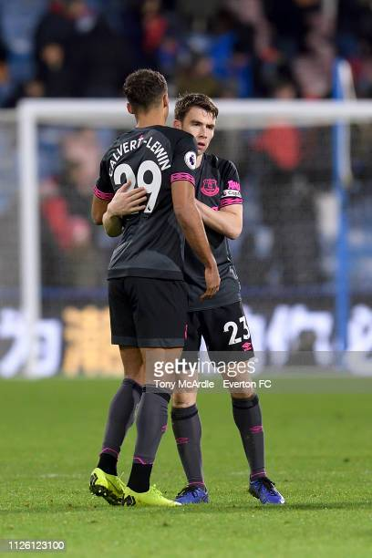 Dominic CalvertLewin and Seamus Coleman of Everton embrace after Premier League match between Huddersfield Town and Everton FC at the John Smith's...