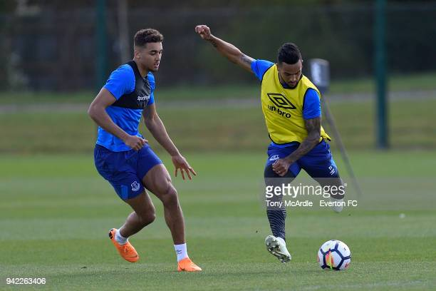 Dominic CalvertLewin and Theo Walcott on the ball during the Everton FC training session at USM Finch Farm on April 5 2018 in Halewood England