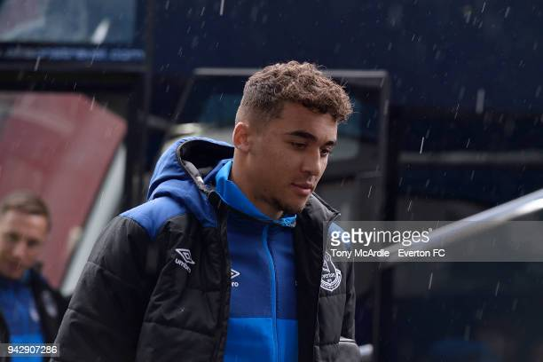 Dominic CalvertLewin arrives before the Premier League match between Everton and Liverpool at Goodison Park on April 7 2018 in Liverpool England