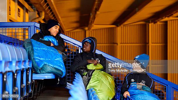 Dominic CalvertLewin Bassala Sambou and Antonee Robinson prepare for the the Everton in the Community Sleepover Event at Goodison Park on November 25...