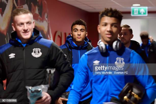 Dominic CalvertLewin before The Emirates FA Cup Third Round match between Liverpool and Everton at the Anfield on January 5 2018 in Bournemouth...