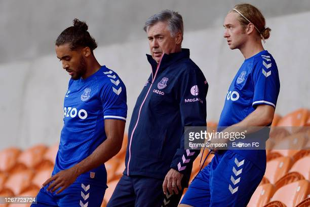 Dominic Calvert-Lewin Carlo Ancelotti of Everton and Tom Davies during the pre-season friendly match between Blackpool and Everton at Bloomfield Road...