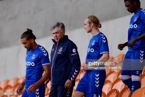 Dominic Calvert-Lewin Carlo Ancelotti of Everton Tom Davies and Moise Kean during the pre-season friendly match between Blackpool and Everton at...
